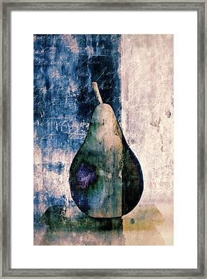 Pear In Blue Framed Print by Carol Leigh