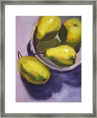 Pear Shadows Framed Print by Nancy Merkle