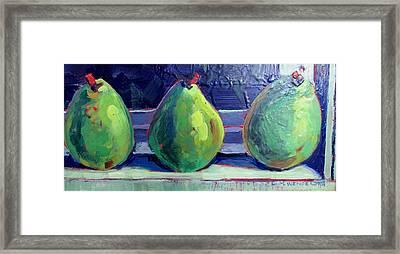 Pear Trio Framed Print by Christine Wenderoth