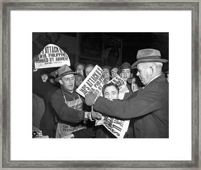 Pearl Harbor Attack Headlines Framed Print by Underwood Archives