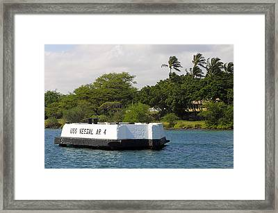 Pearl Harbor Marker For Uss Vestal Framed Print by Linda Phelps