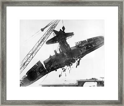 Pearl Harbor Plane Salvaged Framed Print by Underwood Archives