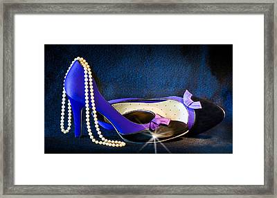 Pearls And Purple Pumps Framed Print by Patti Deters