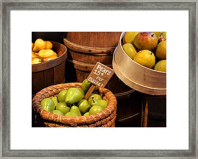 Pears - 15 Cents Per Basket Framed Print by Christine Till