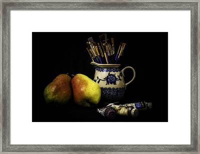 Pears And Paints Still Life Framed Print by Jon Woodhams