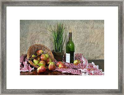Pears On Red Cloth Framed Print by Diana Angstadt