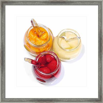 Pears Oranges Strawberries Framed Print by Diana Angstadt