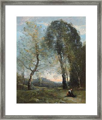 Peasant Woman Collecting Wood Framed Print by Jean Baptiste Camille Corot