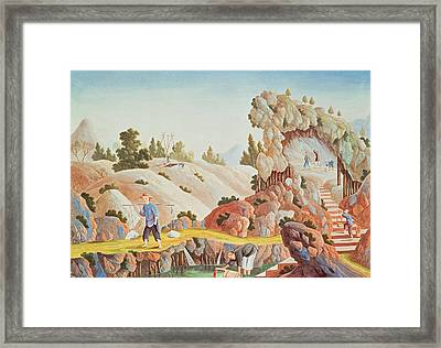 Peasants Quarrying And Collecting Kaolin For A Porcelain Factory Framed Print by Chinese School