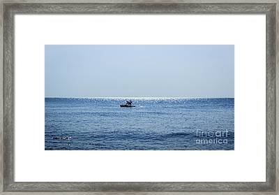 Pedal Boat Alone At The Sea Framed Print by Hai Duong