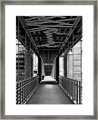 Pedestrian Bridge In Hamburg Framed Print by Mountain Dreams