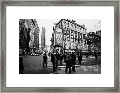 Pedestrians Cross Crosswalk Crossing Of 6th Avenue Broadway And 34th Street At Macys New York Usa Framed Print by Joe Fox