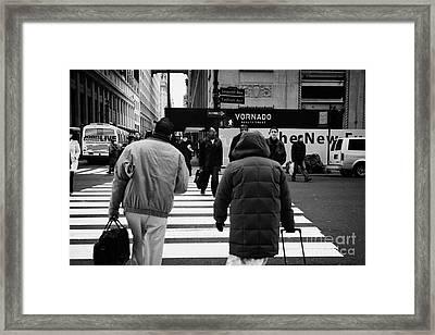 Pedestrians Crossing Crosswalk Carrying Luggage On Seventh 7th Ave Avenue Framed Print by Joe Fox