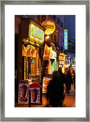 Pedestrians Walking In A Market, Rue De Framed Print by Panoramic Images
