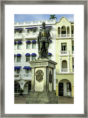 Pedro De Heredia, Founder Of Cartagena Framed Print by Jerry Ginsberg