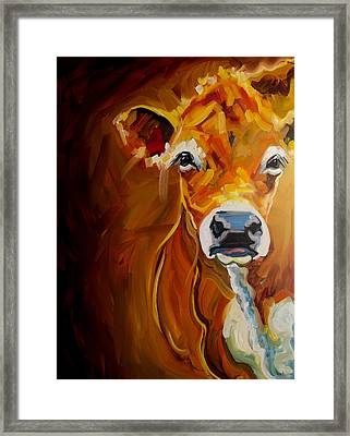 Peek Cow Framed Print by Diane Whitehead