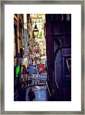 Peeking From Behind - Lisbon Framed Print by Mary Machare