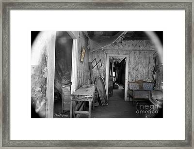 Peeking In The Old Mortuary Framed Print by Cheryl Young