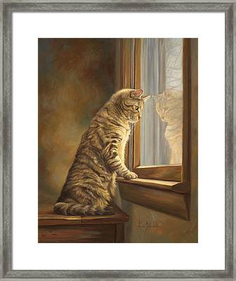 Peering Out The Window Framed Print by Lucie Bilodeau