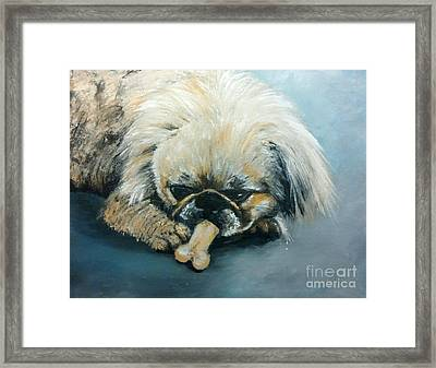 Pekinese And The Bone Framed Print by Isabella Abbie Shores