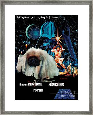 Pekingese Art - Star Wars Movie Poster Framed Print by Sandra Sij