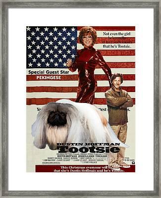 Pekingese Art - Tootsie Movie Poster Framed Print by Sandra Sij