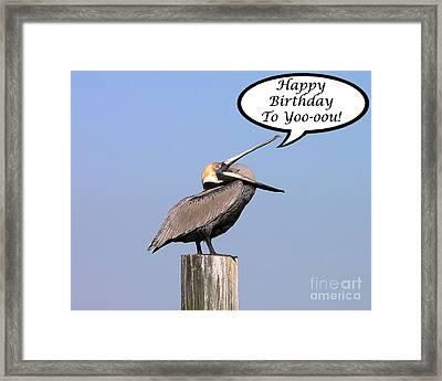 Pelican Birthday Card Framed Print by Al Powell Photography USA