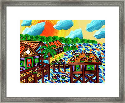 Pelican Convention Cedar Key Framed Print by Mike Segal