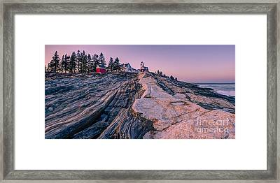 Pemaquid Light Sunset Framed Print by Abe Pacana