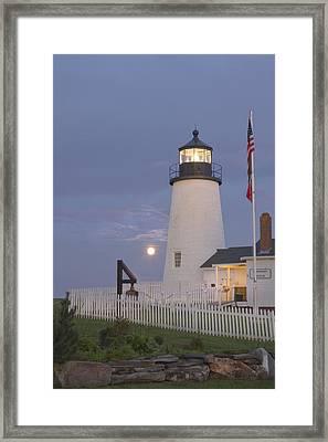 Pemaquid Point Lighthouse And Moon Maine Coast Framed Print by Keith Webber Jr