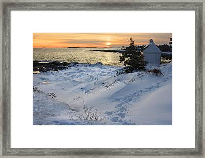 Pemaquid Point Winter Sunset On The Maine Coast Framed Print by Keith Webber Jr