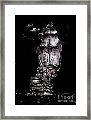 Pen And Ink Drawing Of Ghost Boat In Black And White Framed Print by Mario Perez