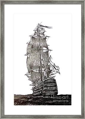 Pen And Ink Drawing Of Sail Ship In Black And White Framed Print by Mario Perez