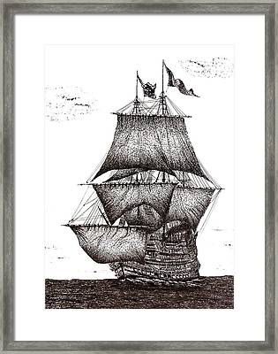 Pen And Ink Drawing Of Sailing Ship In Black And White Framed Print by Mario Perez