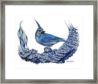 Pen And Ink Drawing Of Small Blue Bird  Framed Print by Mario Perez