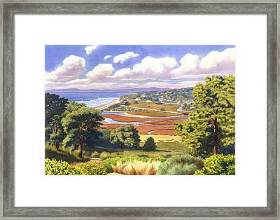 Penasquitos Lagoon With Clouds Framed Print by Mary Helmreich