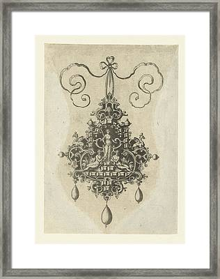 Pendant With In The Middle A Peace Goddess With Palm Branch Framed Print by Anonymous And Hans Collaert I And Philips Galle