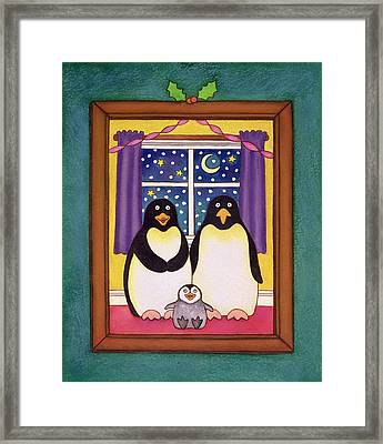 Penguin Family Christmas Framed Print by Cathy Baxter