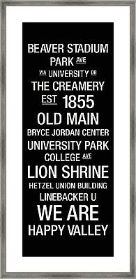 Penn State College Town Wall Art Framed Print by Replay Photos