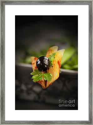Penne With Olives Framed Print by Mythja  Photography