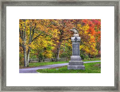 Pennsylvania At Gettysburg - 115th Pa Volunteer Infantry De Trobriand Avenue Autumn Framed Print by Michael Mazaika