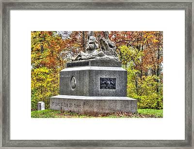 Pennsylvania At Gettysburg - 116th Pa Volunteer Infantry Irish Brigade Sickles Avenue Autumn Framed Print by Michael Mazaika