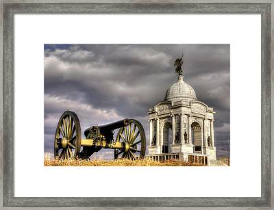 Pennsylvania At Gettysburg 1a - State Monument - Hancock Ave At Pleasonton Ave Late Afternoon Winter Framed Print by Michael Mazaika