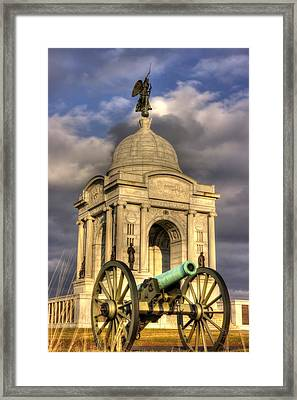 Pennsylvania At Gettysburg 2a - State Monument - Hancock Ave At Pleasonton Ave Late Afternoon Winter Framed Print by Michael Mazaika