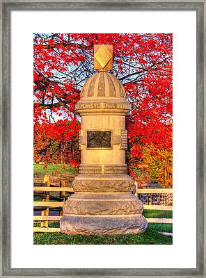 Pennsylvania At Gettysburg - 63rd Pa Volunteer Infantry - Sunrise Autumn Steinwehr Avenue Framed Print by Michael Mazaika