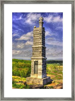 Pennsylvania At Gettysburg - 91st Pa Veteran Volunteer Infantry - Little Round Top Spring Framed Print by Michael Mazaika