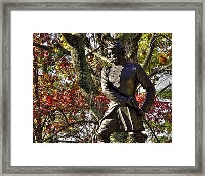 Pennsylvania At Gettysburg - Col Strong Vincent 83rd Pa Volunteer Infantry Close-2b Little Round Top Framed Print by Michael Mazaika