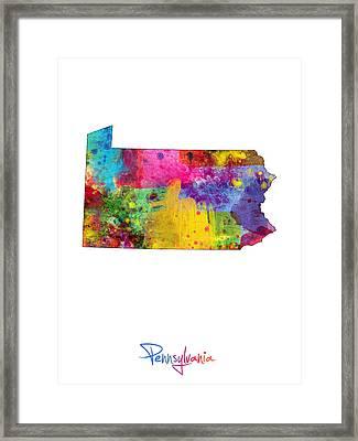 Pennsylvania Map Framed Print by Michael Tompsett