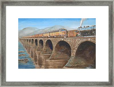 Pennsylvania Railroad On The Rockville Bridge Framed Print by Christopher Jenkins