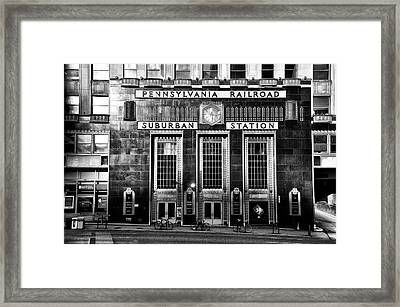 Pennsylvania Railroad Suburban Station In Black And White Framed Print by Bill Cannon